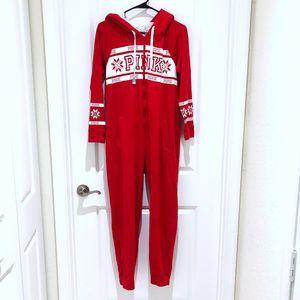 Pink Victoria's Secret Red Sleepwear Hoodie Small